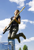 Bass guitar player — Stock Photo