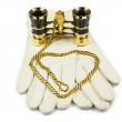 White leather womans gloves and opera gl — Stock Photo #1106172