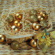 Christmas decoration basket — Stock Photo