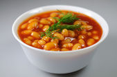 Beans in tomato sauce — Stock Photo
