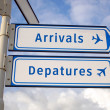 Stock Photo: Arrivals and departures signs
