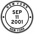 Nine eleven new york post stamp — Foto Stock