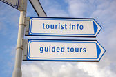 Tourist information, guided tours signs — Stock fotografie