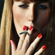 Stock Photo: Smoking women with red lipstick lips