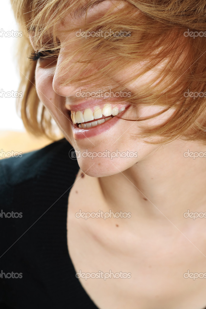 A beautiful girl, with fantastic lips, smiling  Stock Photo #1134010