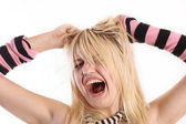 Young girl is screaming — Stock Photo