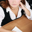 Businesswoman pain, stress in office — Stock Photo