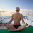 Man sitting on the boat — Stock Photo
