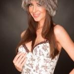 ������, ������: Portrait of happy young girl in furry ha