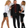 Business man with two girls — Stock Photo