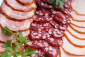 Sausage, meat, verdure — Stock Photo
