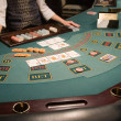 Close-up of a poker table at casino — Stock Photo