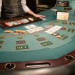 Close-up of a poker table at casino — 图库照片