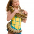 Young girl with pet snake — Stock Photo #1135208