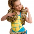 Young girl with pet snake — Stock Photo
