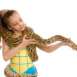 Close-up of sweet girl with pet python — Stock Photo