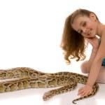 Young girl with python snake — Stock Photo
