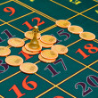 Roulette gambling chips on the table — Stock Photo