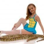 Young girl with python snake, isolated o — Stock Photo
