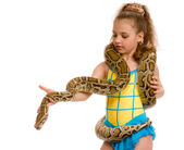 Close-up of sweet girl with pet python — Stockfoto