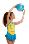Young girl with a gymnastic ball — Stock Photo