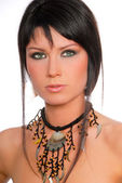 Brunette with necklace — Stock Photo