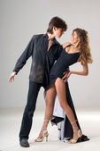 Dancing loving young couple — Стоковое фото