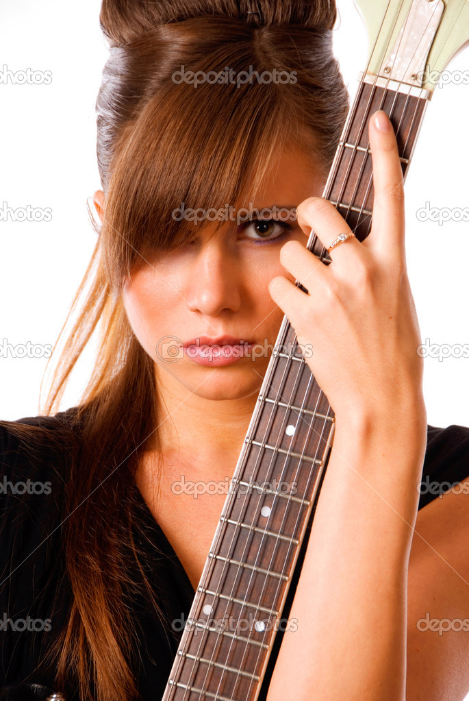 Girl in black gown with guitar, isolated on white — Stock Photo #1163186