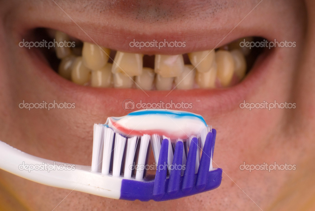 Dental care concept: brush your teeth — Foto de Stock   #1164032