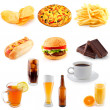 set van fast food — Stockfoto