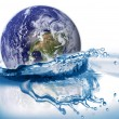 Earth falls into water. Some graphics in — Stock Photo
