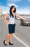 Young woman are stopping car — Stock Photo