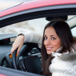 Foto Stock: Young woman in a car