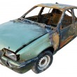 Burnt car. isolated with cliping path — Stock Photo