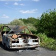 The burned down automobile — Stock Photo