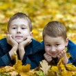 Autumn portrait of two brothers — Stock Photo