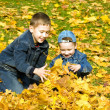 Royalty-Free Stock Photo: The boys in autumn park