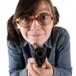 Stock Photo: Eccentric woman with the weapon.