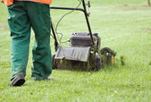 Man gardener working with lawn mower — Stock Photo