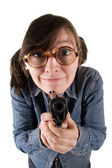 Eccentric woman with the weapon. — Stock Photo
