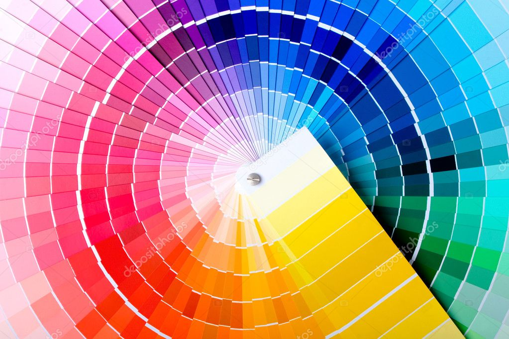 Close-up view of a color chart used for paint selection  Foto de Stock   #1120684