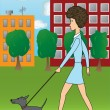 Royalty-Free Stock Vector Image: The girl with a dog