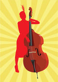 The contrabass player — Stock Vector