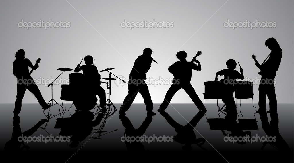 Rock band. Silhouettes of six musicians. Vector illustration.  Stock Vector #1184127