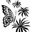 Royalty-Free Stock Imagen vectorial: Flowers and the butterfly