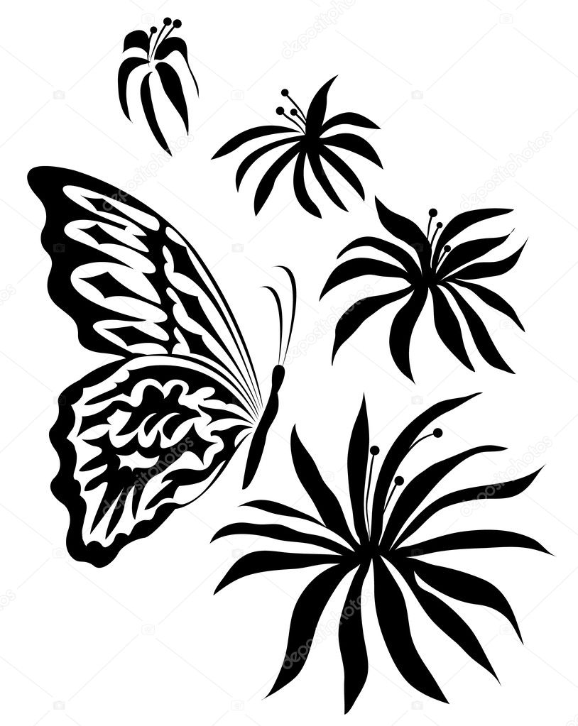 Flowers and the butterfly on a white background — Stock Vector #1193816