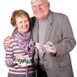 Royalty-Free Stock Photo: Elderly couple with money in hands