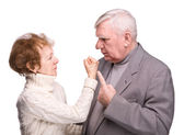 Conflict elderly couple — Stock Photo