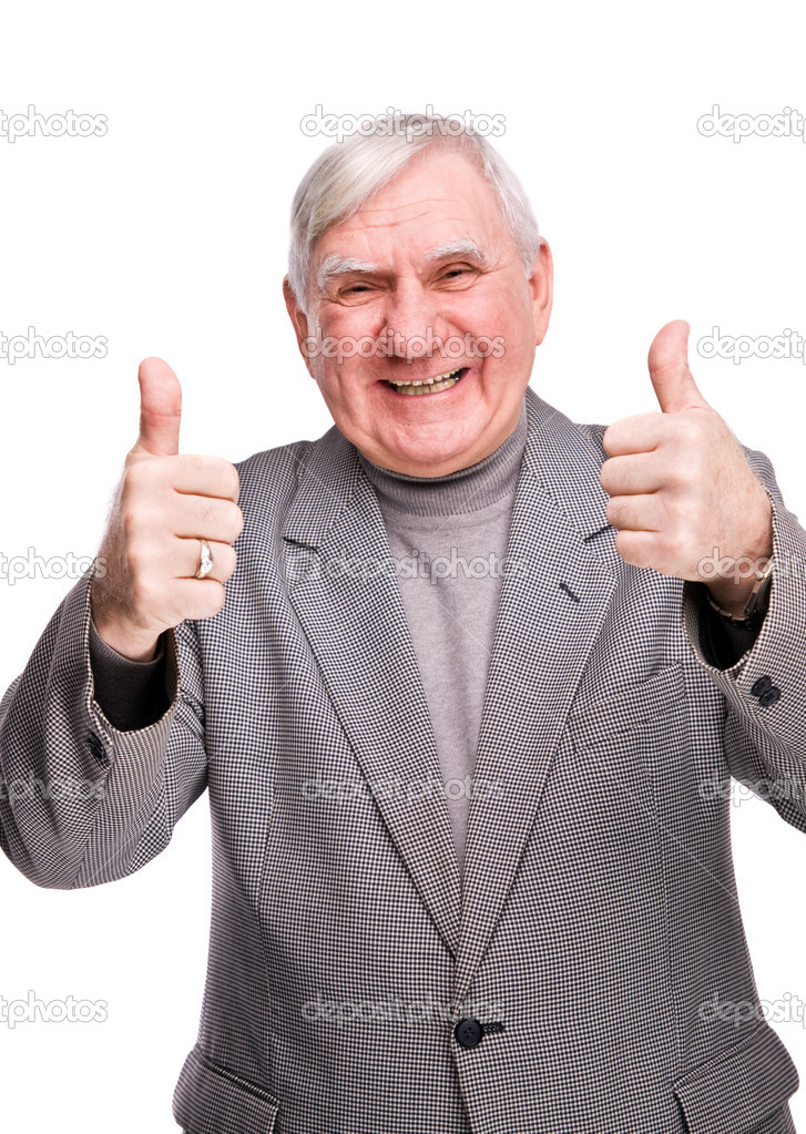 Senior man showing thumb up on a isolated white background  Stock Photo #2075789