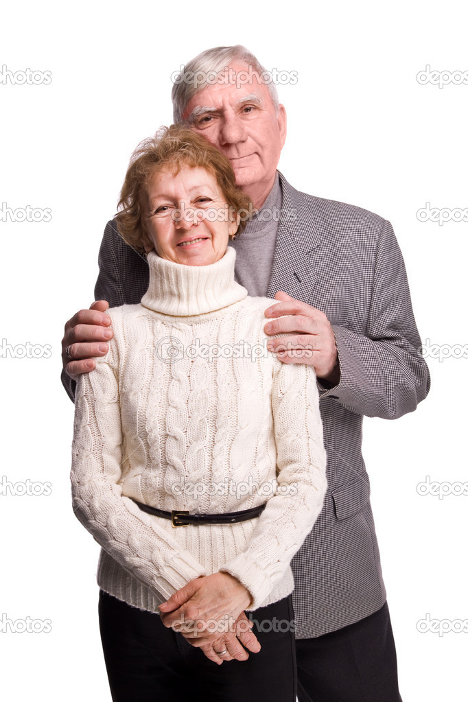 Senior Couple Isolated on a White Background  Stock Photo #2076318